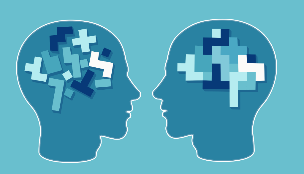 two brains made of puzzle pieces